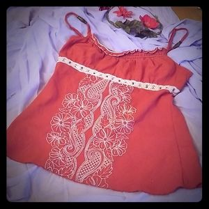 Women's Burnished Orange Boho Camisole W/ Lace